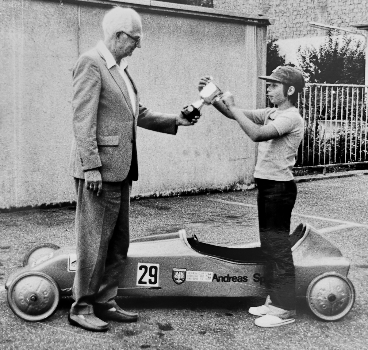 Seifenkiste mit Opel Räder ca. 1980