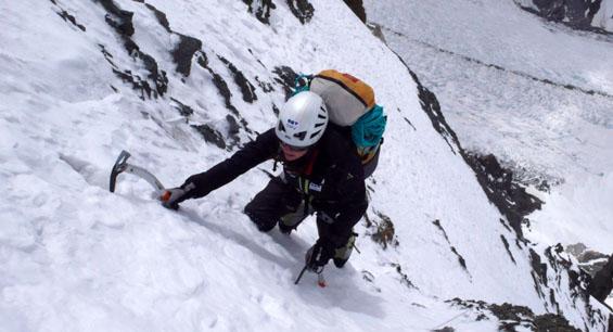 K2 2009, Zum Teil Blankeis mit dünner Schneeauflage, Foto: D.Göttler