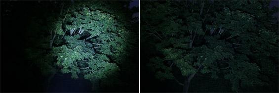 LED Lenser M7 - Links: 1/2 fokusiert - Rechts: defokusiert